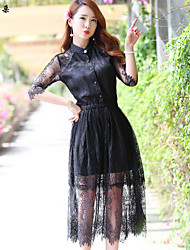 Women's Dress , Lace/Others Midi ½ Length Sleeve