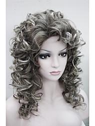 nova moda encantador 50 centímetros mix marrom ponta cinza cabeleira encaracolada sintético das mulheres