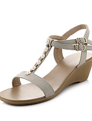 Women's Shoes Leather Wedge Heel Slingback Sandals Shoes with Imitation Pearl Dress More Colors available