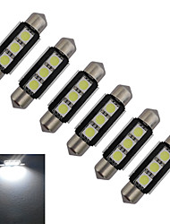 JIAWEN® 6pcs Festoon 39mm 1W 3x5050SMD 60-70LM 6000-6500K Cool White Light LED Car Light (DC 12V)