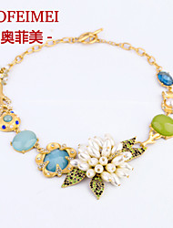 European and American fashion jewelry items new luxury flowers alloy necklace Ms.