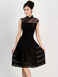 Women's Black Dress , Casual/Lace Sleeveless