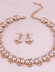 Vintage Women Party Alloy Gold Plated Imitation Pearl Jewelry Sets