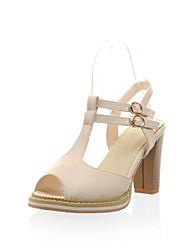 Zapatos de mujer - Tacón Robusto - Tacones / Punta Abierta - Sandalias - Oficina y Trabajo / Vestido - Semicuero - Negro / Rosa / Beige