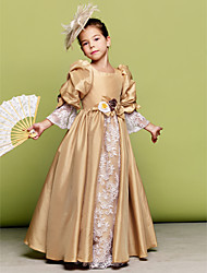 A-line/Princess Floor-length Flower Girl Dress - Taffeta 3/4 Length Sleeve