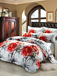 Mingjie Red Big Flowers White 3D Bedding Sets Queen Size