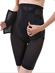 Panties Waist Cincher/Pants Polyester/Spandex Embroidery Black/Almond Sexy Lingerie Shaper