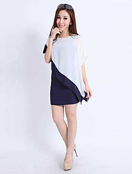 Women's White Dress , Casual Short Sleeve