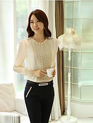 MILAN Women's Casual/Work Round Long Sleeve Tops & Blouses (Chiffon)