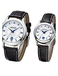 relógio de design casual pu banda de pulso de quartzo do casal (cores sortidas)