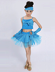Latin Dance Performance Outfits Children's Performance Polyester/Tulle Bow Outfit Blue/Fuchsia/Red/Yellow Kids Dance Costumes