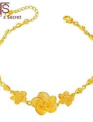 Flower's Secret Placer Heart Charm Three Flowers Bracelet 7'' length with Hook Clasp
