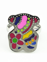 Fashion Stainless Steel Silver Silver Multicolor Enamel Cute Teddy Bear Ring(1PC)