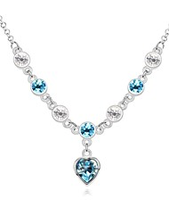 Love You Lifetime Short Necklace Plated with 18K True Platinum Aquamarine Crystallized Austrian Crystal Stones