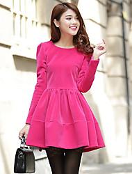Women's Casual Micro Elastic Long Sleeve Above Knee Dress (Fur)