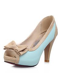 Zapatos de mujer - Tacón Cono - Punta Abierta - Sandalias - Vestido - Semicuero - Azul / Rosa / Blanco / Beige