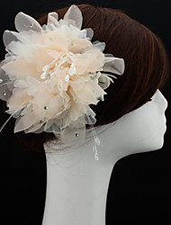 Handmade Champagne Chiffon Flower Feather Hair accessories Bridal Wedding Fascinator