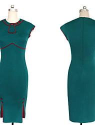 Damen Kleid - Bodycon Retro / Party / Arbeit / Niedlich Knielang Baumwoll-Mischung Rundhalsausschnitt