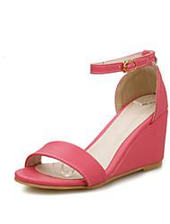 Zapatos de mujer - Tacón Cuña - Talón Descubierto - Sandalias - Oficina y Trabajo / Vestido - Semicuero - Azul / Rojo / Beige