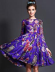 cru partie d'impression colorée de printemps aofuli femmes tailles plus manches longues robe longueur genou
