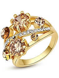 Statement Rings Crystal Alloy Fashion Golden Jewelry Party 1pc
