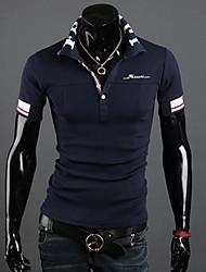 мужской размер плюс синий / белый хлопок / хлопок смесь брюки, печати