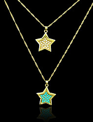 18K Real Gold Plated Pearl/Blue Pentagram Pendant Necklace