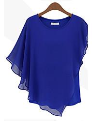 T-Shirts ( Mousseline ) Vintage/Sexy/Informel Rond à Manches courtes pour Femme