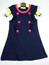 Girl's Summer Micro-elastic Thin Short Sleeve Dresses (Cotton)