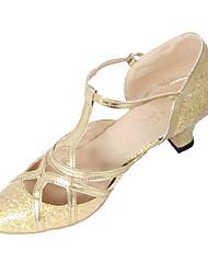 Women's Dance Shoes Latin Paillette Chunky Heel Gold