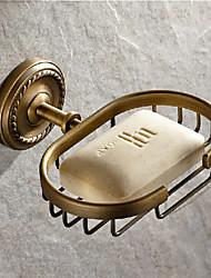 Antique Brass Carved Vine Soap Basket