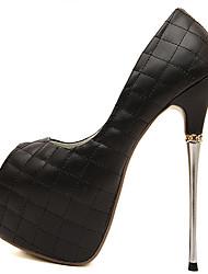 Chaussures Femme - Habillé / Soirée & Evénement - Noir / Blanc - Talon Aiguille - Talons / Bout Ouvert / A Plateau - Talons - Similicuir