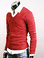 Men's Fashion V-Neck Color Sweater,California Rabbit's Cashmere