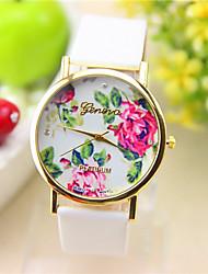 PU bande de montre à quartz anolog occasionnel de geneve femmes (couleurs assorties)
