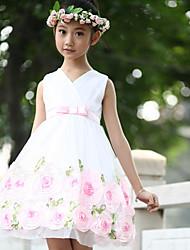 Flower Girl Dress - Longueur genou Mode de bal - Col en V ( Tulle )