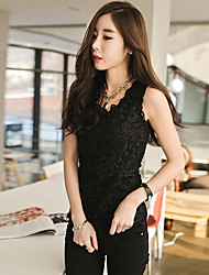 Women's Solid White/Black Vest Sleeveless Lace