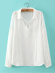 Women's New Fashion Casual Inelastic Long Sleeve Regular Blouse Shirt (Cotton)