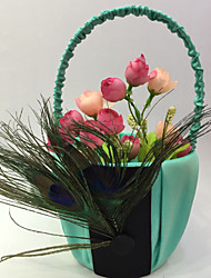 Wedding Décor Flower Basket Satin Garden Theme With Feather