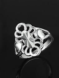 2016 Heart-Shaped Flowers Noble Women 925 Sterling Silver Statement Wedding Ring