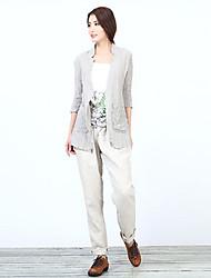 2015 spring coat female han edition of high-end fashion linen dress shirt joker original design free agent
