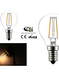 2W E14 Ampoules à Filament LED G45 2 COB 200 lm Blanc Chaud AC 100-240 V 2 pièces