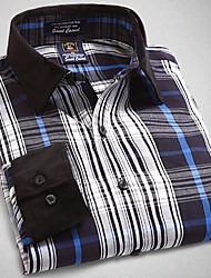 U&Shark New Hot! Men's 100% Cotton San Carlo Long Sleeve Shirt with Blue Black White Check/CSR002