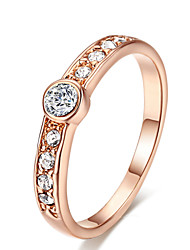 T&C Women's Concise Crystal Jewelry 18K Rose Gold Plated Rhinestones Studded Eternity Wedding Ring