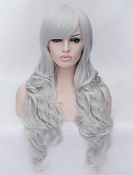 European and American Fashion Silver Straight Bangs Curly Hair Wig
