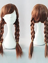 Popular Kniting Cosplay Wig Party Wig Brown Weave Cartoon Wig 20 Inches Long Straight Animated Synthetic Hair Wigs