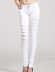 Women's New Fashion Break Hole Slim Pencil Jeans Pants