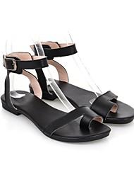 Women's Shoes Calf Hair Flat Heel Slingback/Comfort Sandals/Flats Casual Black/White