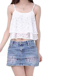 Women's Sexy Flyaway Double Layer Cascading Ruched White Lace Crop Top
