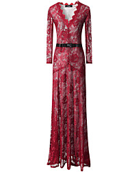 Women's Lace / Maxi Lace Dress , V Neck Maxi Polyester / Lace