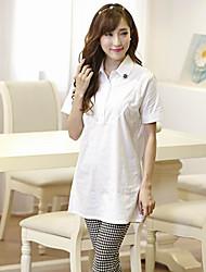 Women's Sexy Casual Micro Elastic Short Sleeve Regular Shirt (Cotton)